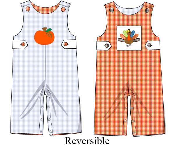 Boys Pumpkin/Turkey Reversible Longall