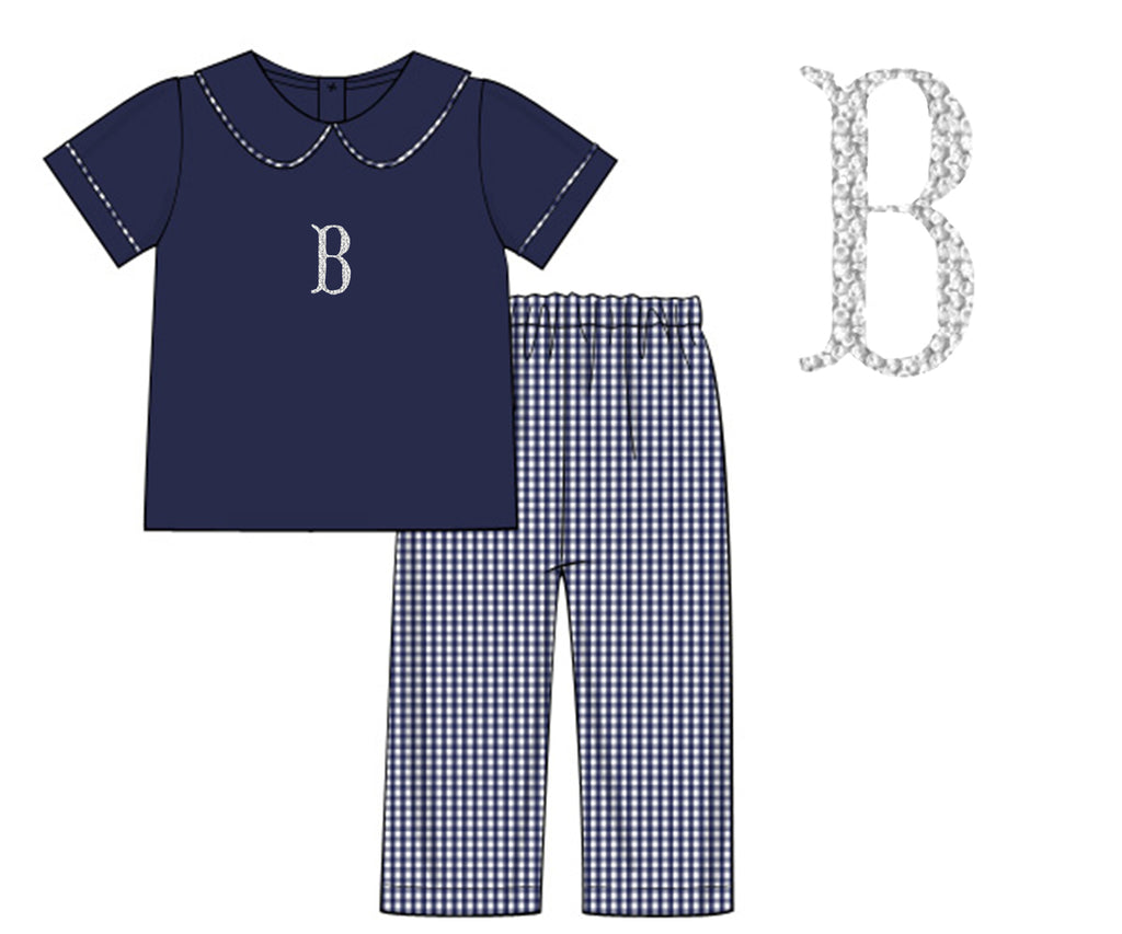 Boys Navy Pique/Gingham Pant Set