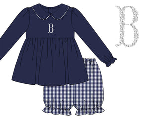 Girls Navy Pique/Gingham Bloomer Set