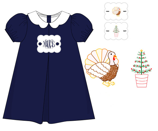 Girls Navy Holiday Tab Dress