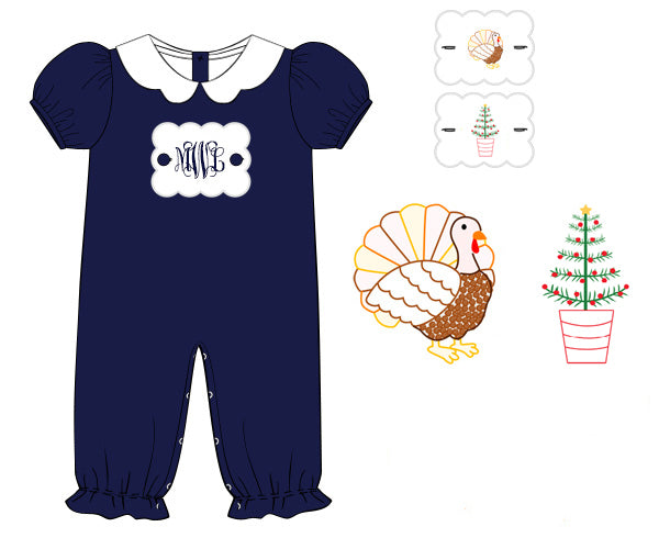 Girls Navy Holiday Tab Bubble