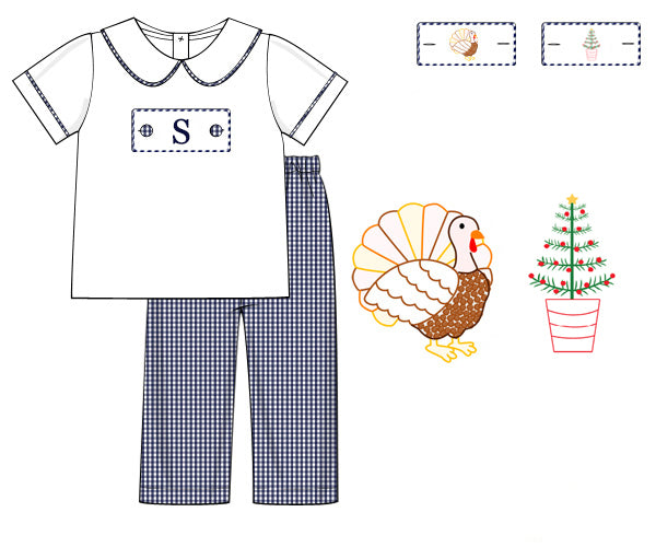 Boys Navy Holiday Tab Pant Set