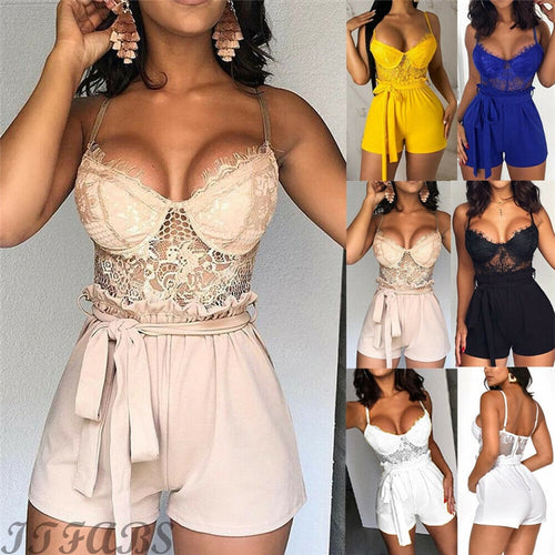 Sexy Summer Lace Jumpsuit Romper (Lace top & Tie Waist Shorts)