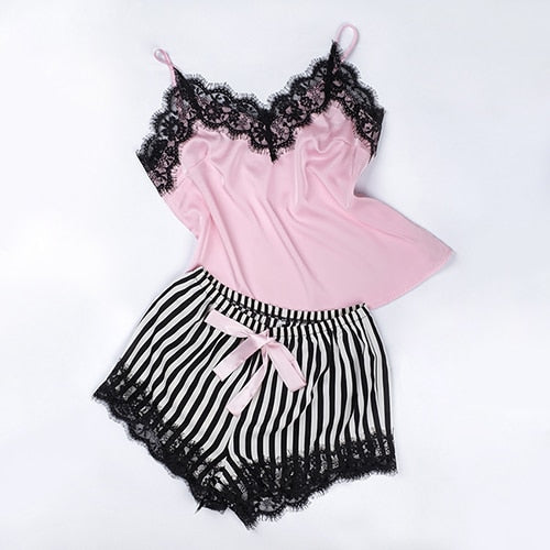 2 PC High Quality Silky Laced Trimmed Cami Set