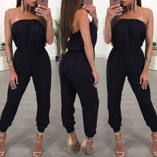 Strapless Sexy Black Jumpsuit