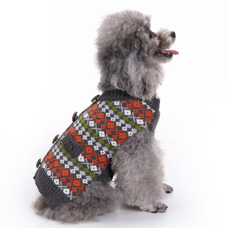 Winter Collarless Fair Isle Dog Sweater