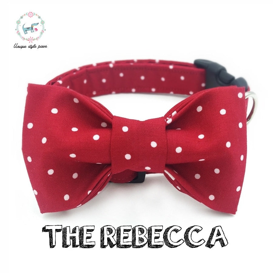 Polka Dots Dog Bowtie/ Flower Collar - Pet Gear Solutions