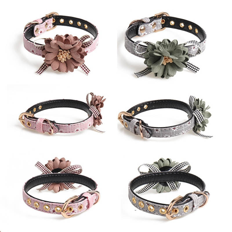 Flower Leather Dog Collar - Pet Gear Solutions