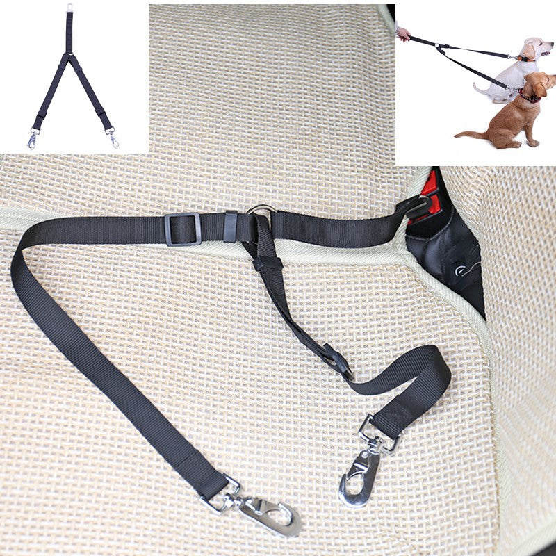 Double Head Adjustable Dog Car Safety Belt - Pet Gear Solutions