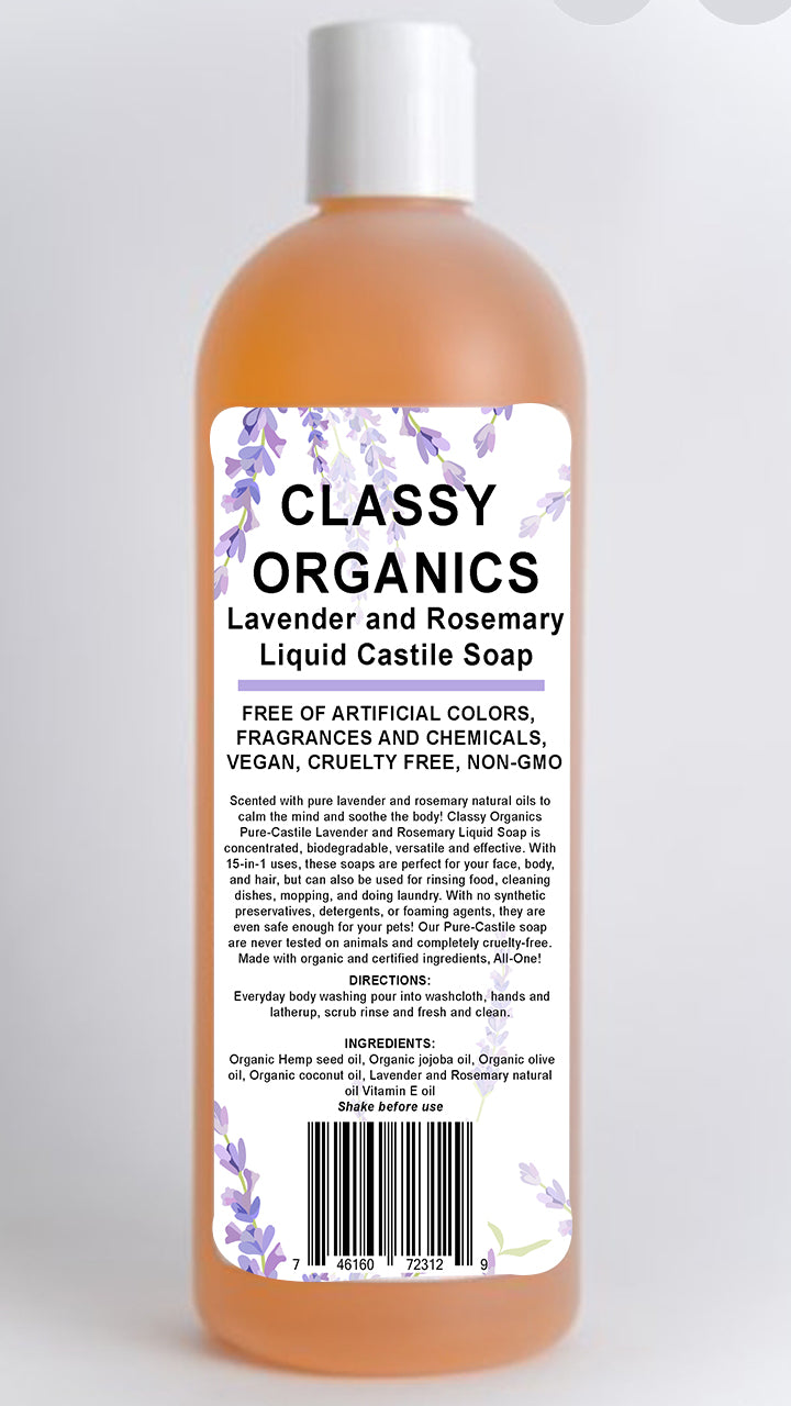 Classy Organics Lavender and Rosemary Liquid Castile Soap