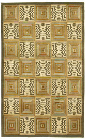 Geometric Panel Design Rug Wool & Silk