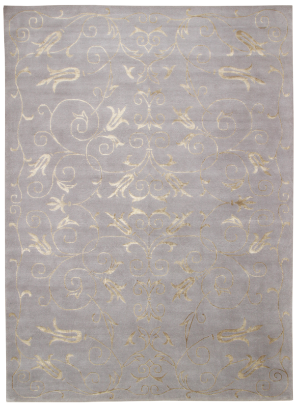 Silk Gold Flowers Grey-Turco Persian Rug Company Inc.