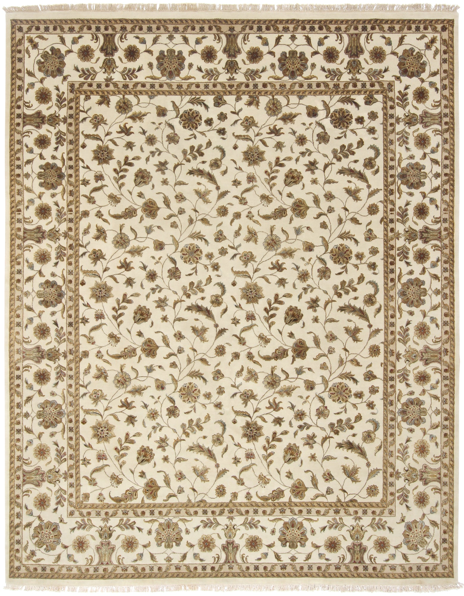 Tabriz Design Ivory Rug Wool & Silk