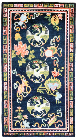 Tibetan Cranes Antique Rug