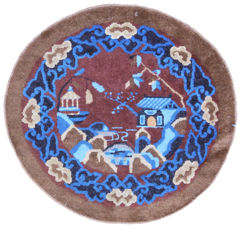 Antique Chinese Round Rug-Turco Persian Rug Company Inc.