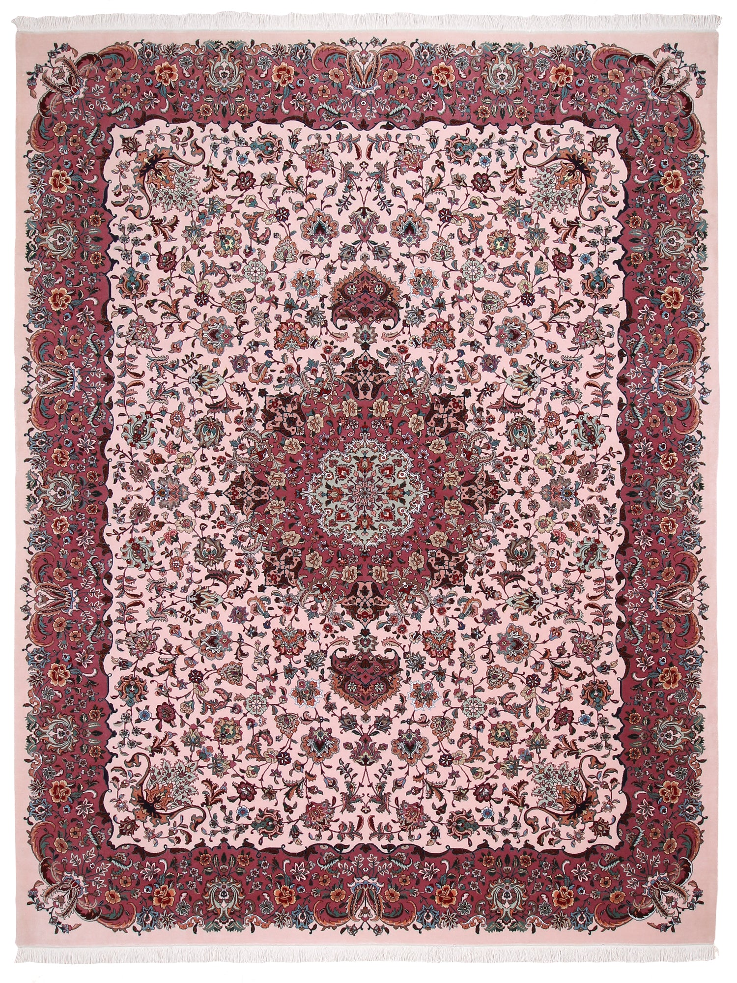 Persian Tabriz Rug Rose Wool & Silk-Turco Persian Rug Company Inc.