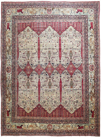 Antique Kerman Ravar Rug Pictorial