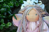 Close-up front-facing Aerwyn woodland faerie cloth doll