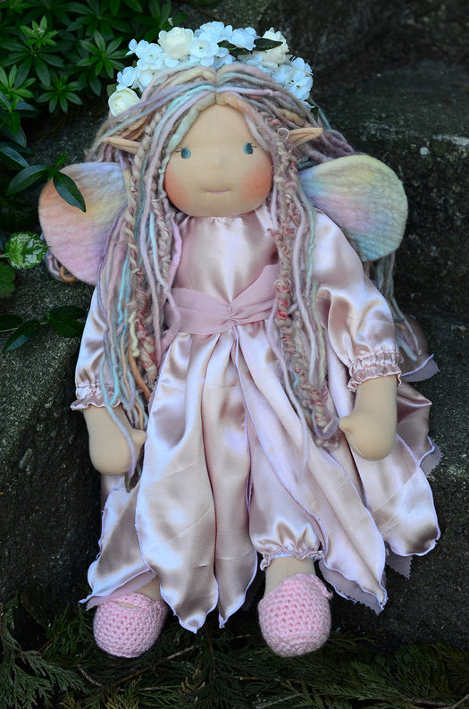 Front-facing Aerwyn woodland faerie fabric doll