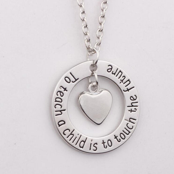 Inspirational Quote Teacher Pendant Necklace - emailgroupie-education