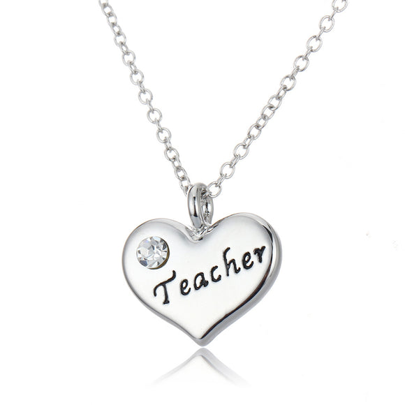 Teacher Heart Pendant Necklace - emailgroupie-education