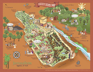 "Easter Story Map Poster, Jerusalem, Jesus' Last Week - 17"" x 22"""