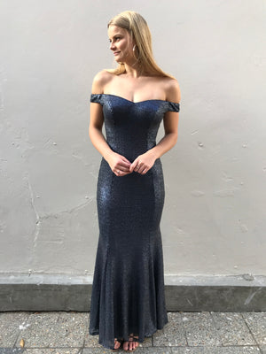 Joanna gown - navy matte sequin