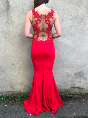 Grace gown - red with beige