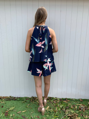 Joanie playsuit - navy floral