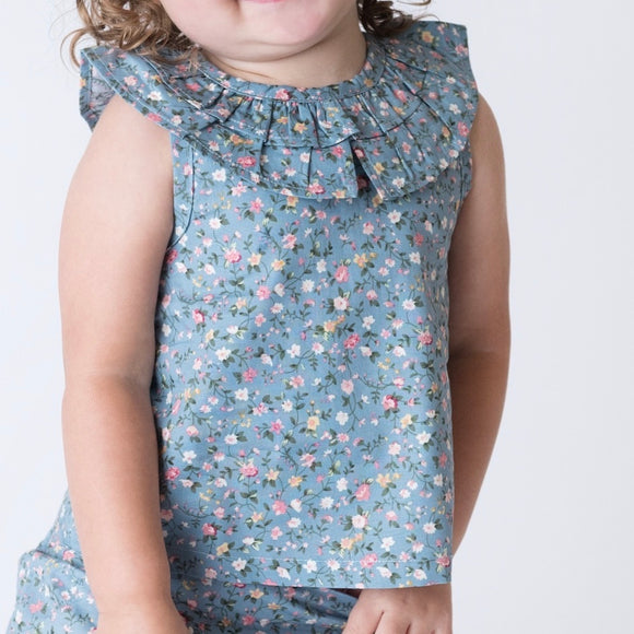 Baby Girls Polly Top - Blue Floral