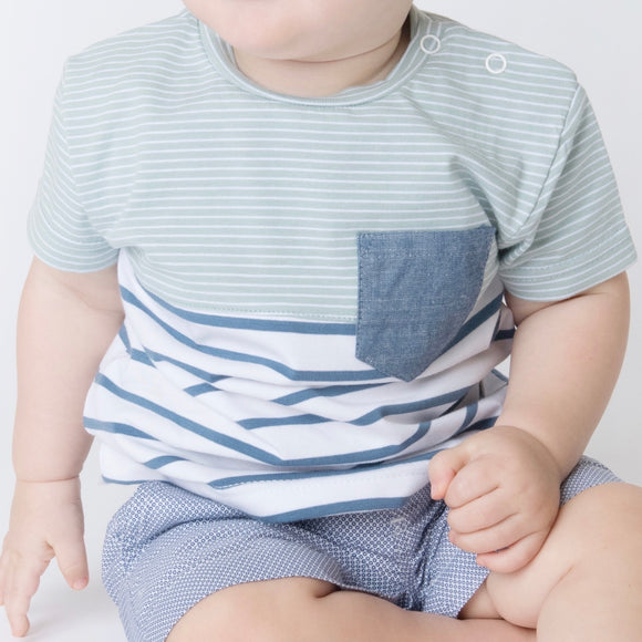 Baby Boys Pocket Tee - Blue & Mint