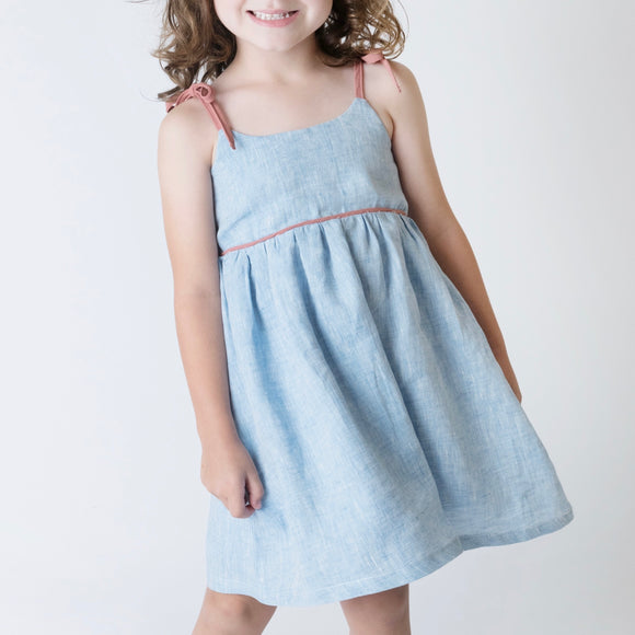 Girls Eden Dress - Blue Linen