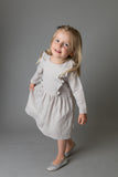 Girls Florence Dress - Grey with Gold Spots