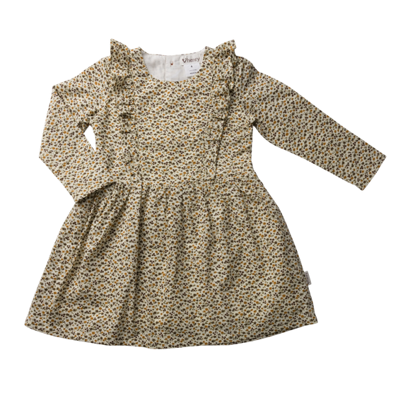 Girls Florence Dress - Mustard Floral