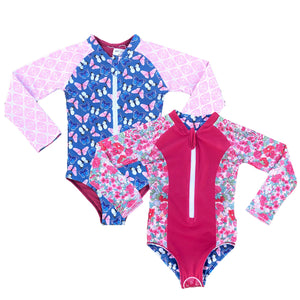 Girls Reversible Swimsuit - Flutter Flowers