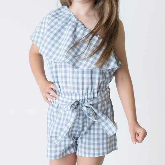 Girls Rosie One-Shoulder Playsuit - Blue Gingham