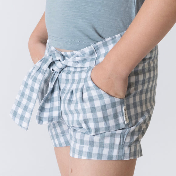 Girls Tie Waist Shorts - Blue Gingham