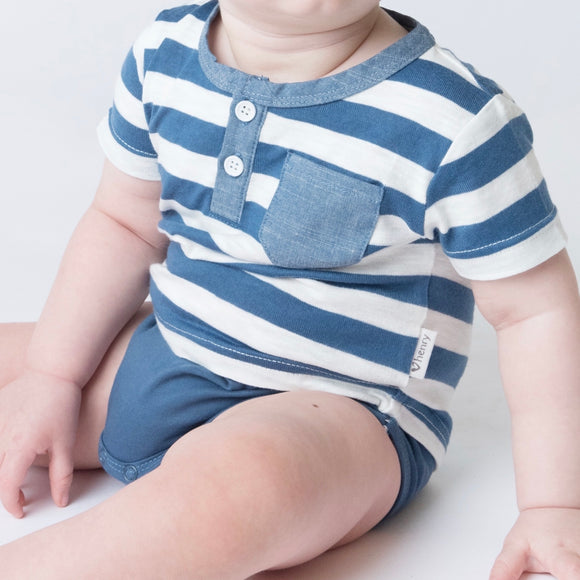 Baby Boys Grandpa Romper - Blue & White Stripe