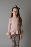 Girls Logan Peplum Top - Pink with Lace