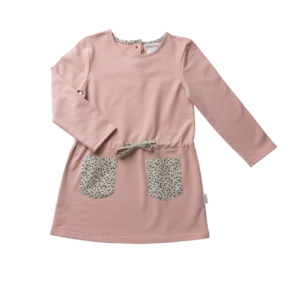 Girls Pocket Dress - Pink with Floral Details