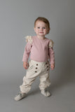 Baby Girls Ribbed Onesie - Pink with Cream Lace
