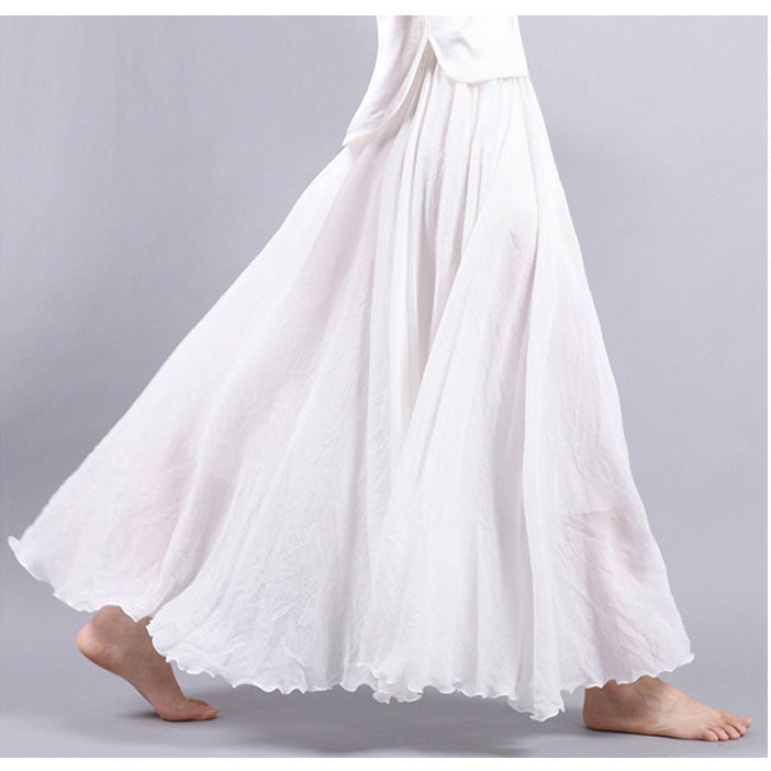 3b860aeff ... Women Linen Cotton Long Skirts Elastic Waist Pleated Maxi Skirts Beach  Boho Vintage Summer Skirts Plus ...