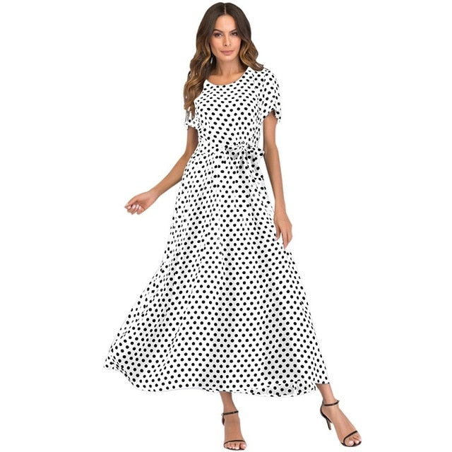 64d7b96d43 ... Korean Fashion Women Maxi Long Dress Vintage Polka Dot Dress Short  Sleeves High Waist A- ...