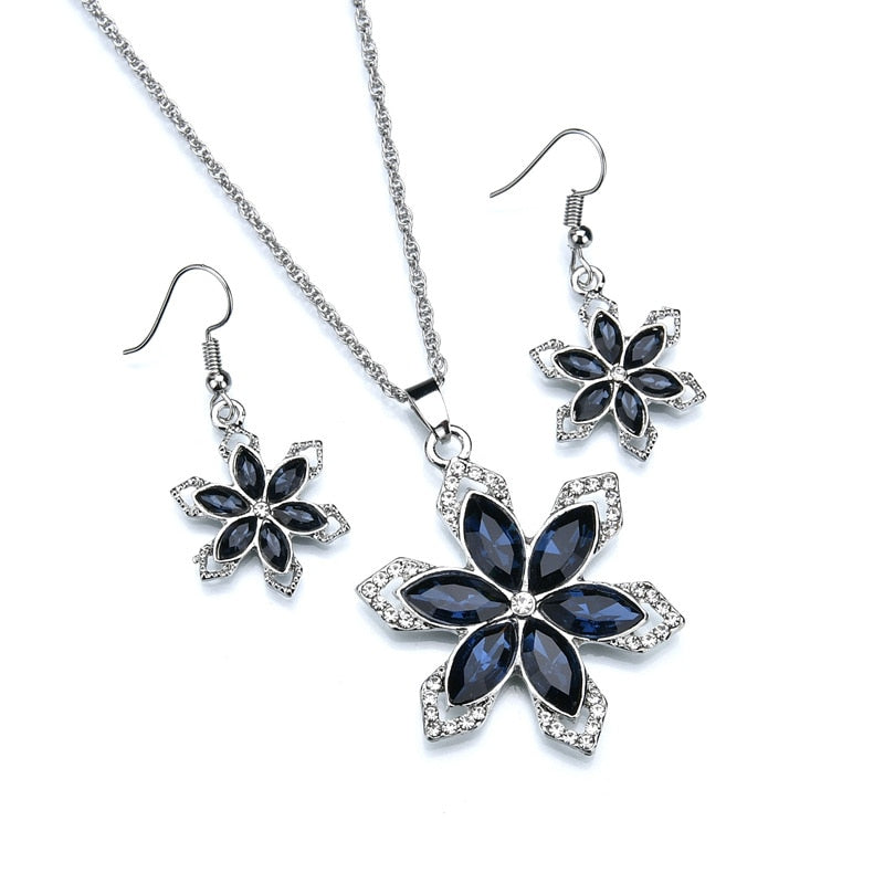 fe54d8494f0 ... L J Vintage Silver Color Flower Jewelry Sets For Women Fashion Luxury  Blue Crystal Bridal Jewelry Sets ...