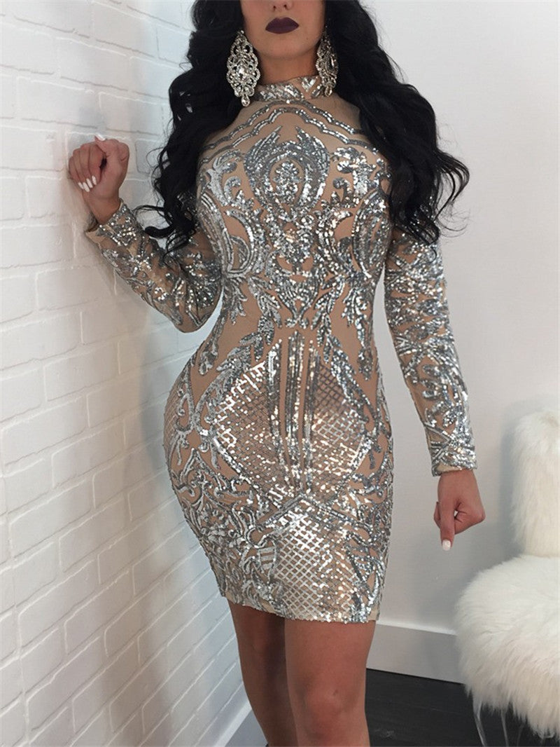 ... Long Sleeve Women Sequin Dress Autumn Winter Silver Sparkly Bodycon  Dress Elegant Sexy Night Club Celebrity ... 1743f88e0f59