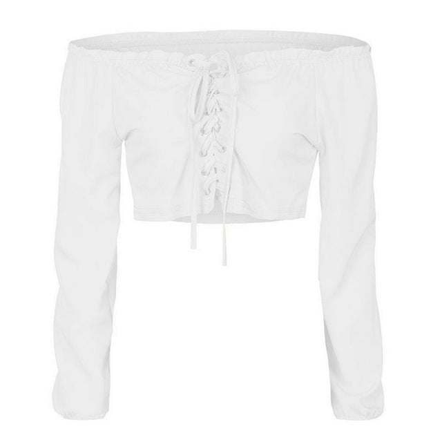 d3a2a9b47100b ... Off Shoulder Sexy Women Blouse Shirt Lace Up Long Sleeve White Shirts  Short bandage Cropped Tops ...