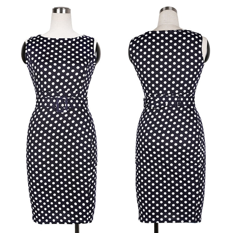 b7d684a955db4 Oxiuly 5XL Vintage Sheath Dot Sleeveless Puff Natural Wear to Work ...