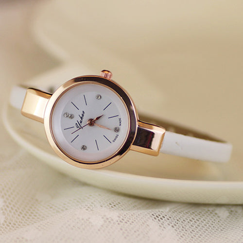 Popular Ladies Rhinestone Faux Leather Super Thin Strap Quartz Analog Dress Wrist Watch