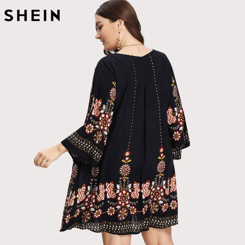007ea103d6 ... SHEIN Black Plus Size Floral Embroidery Tunic Dress Spring Summer  Elegant Large Sizes Tribal Flower Print ...