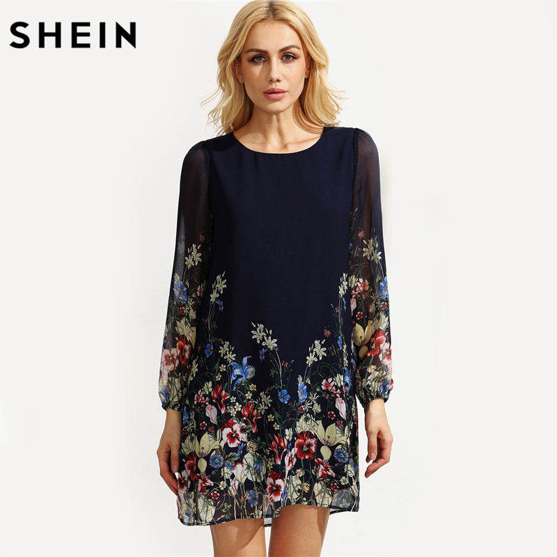 e1ba91938a ... SHEIN Casual Autumn Boho Dresses for Women Multicolor Round Neck Long  Sleeve Floral Print Straight Chiffon